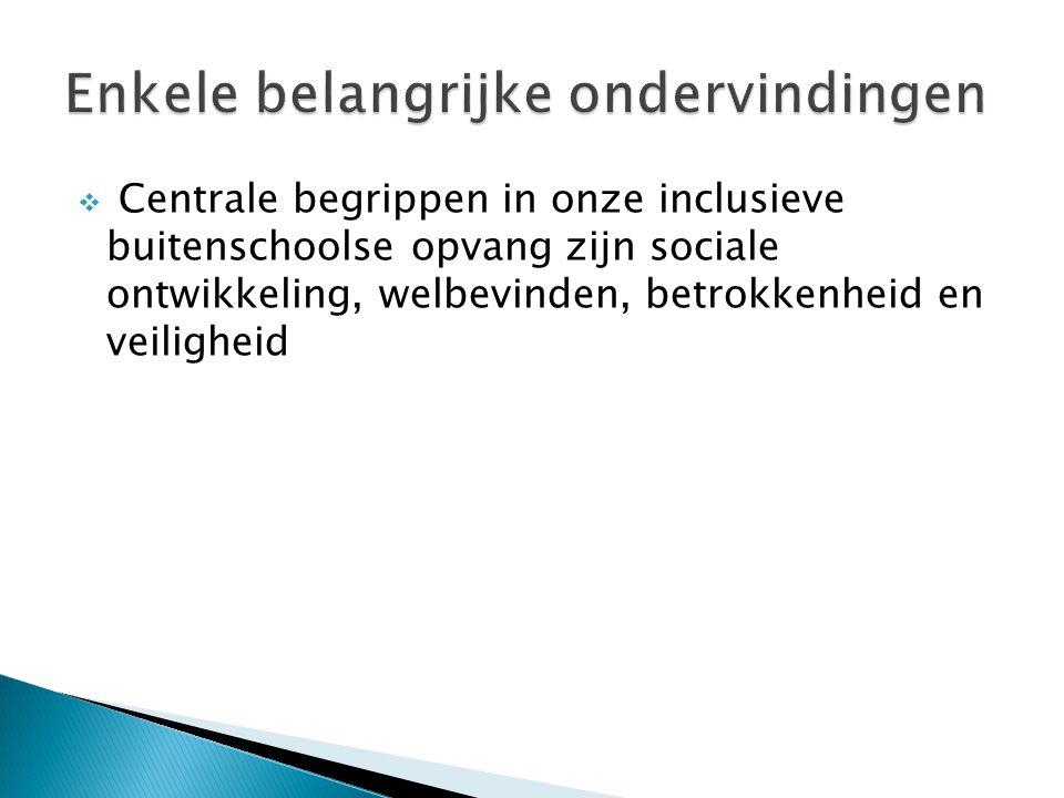  Centrale begrippen in onze inclusieve buitenschoolse opvang zijn sociale ontwikkeling, welbevinden, betrokkenheid en veiligheid