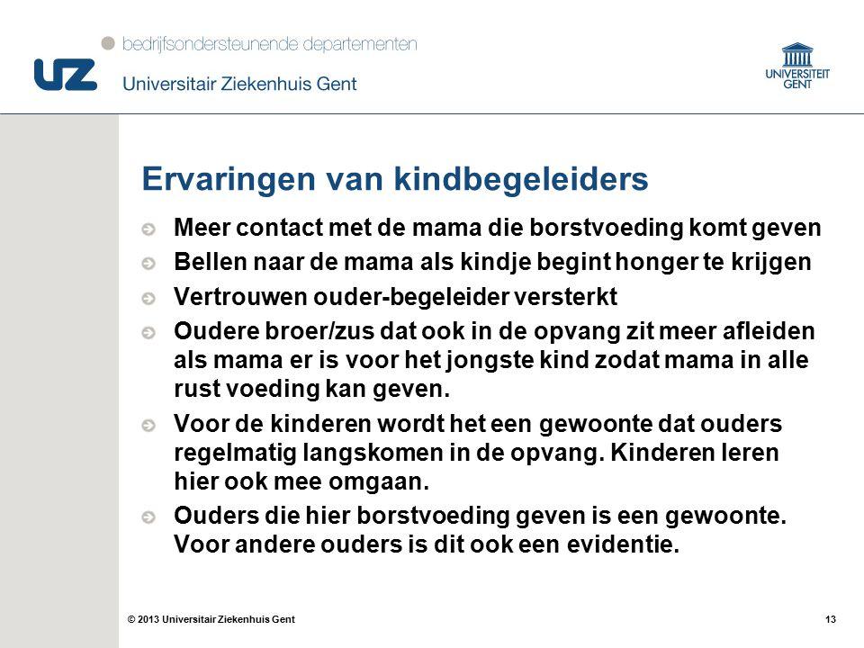 13© 2013 Universitair Ziekenhuis Gent Ervaringen van kindbegeleiders Meer contact met de mama die borstvoeding komt geven Bellen naar de mama als kind