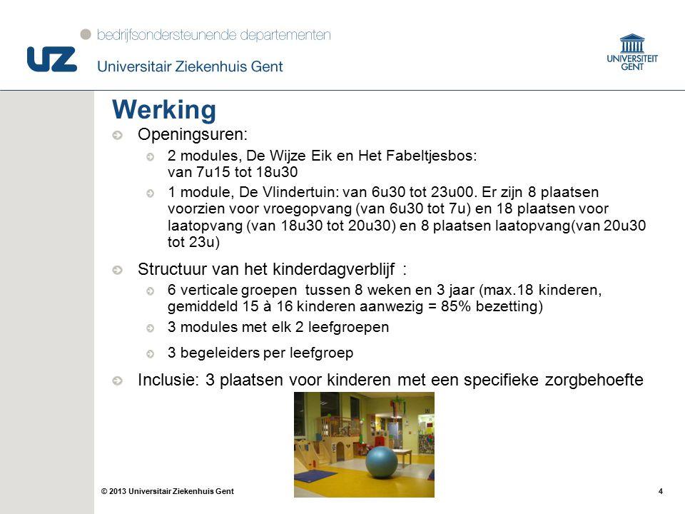 4© 2013 Universitair Ziekenhuis Gent Werking Openingsuren: 2 modules, De Wijze Eik en Het Fabeltjesbos: van 7u15 tot 18u30 1 module, De Vlindertuin: v