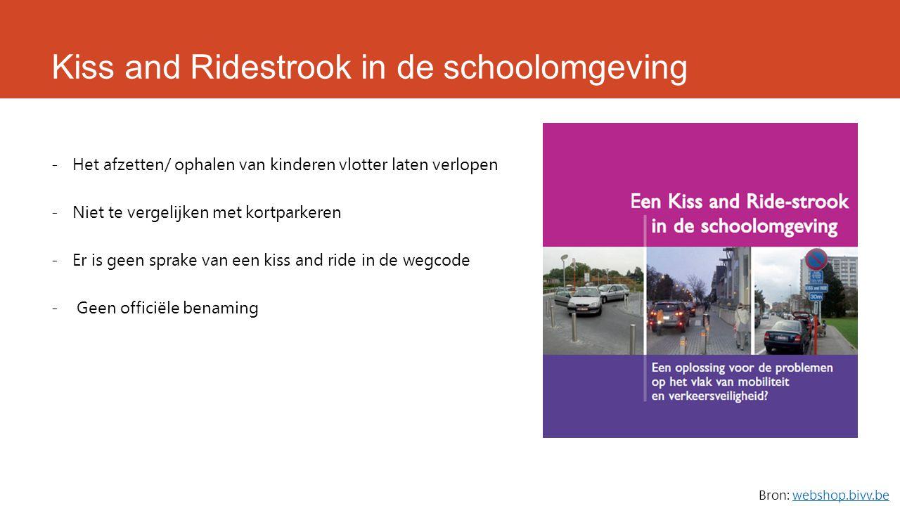 Kiss and Ridestrook in de schoolomgeving -Het afzetten/ ophalen van kinderen vlotter laten verlopen -Niet te vergelijken met kortparkeren -Er is geen