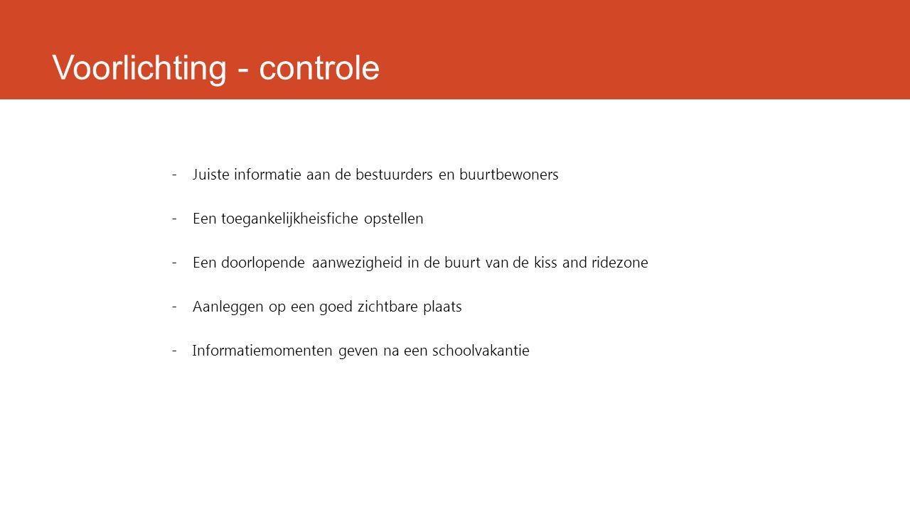 Voorlichting - controle -Juiste informatie aan de bestuurders en buurtbewoners -Een toegankelijkheisfiche opstellen -Een doorlopende aanwezigheid in d