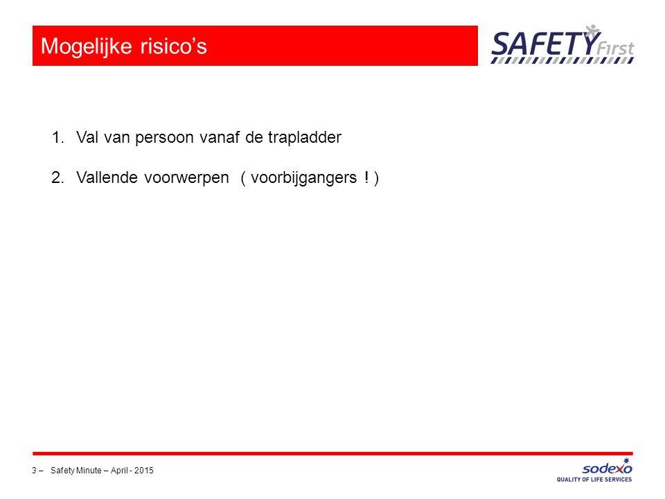 3 –Safety Minute – April - 2015 Mogelijke risico's 1.Val van persoon vanaf de trapladder 2.Vallende voorwerpen ( voorbijgangers ! )