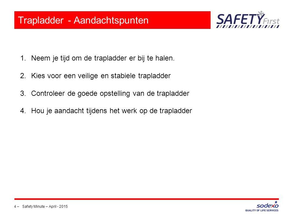 4 –Safety Minute – April - 2015 Trapladder - Aandachtspunten 1.Neem je tijd om de trapladder er bij te halen. 2.Kies voor een veilige en stabiele trap