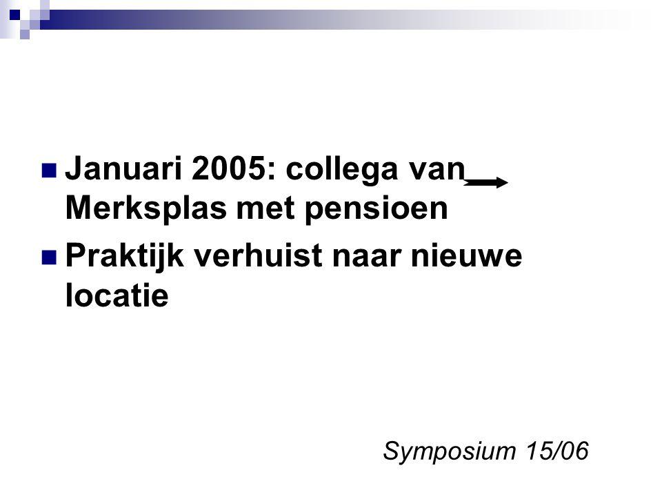 Januari 2005: collega van Merksplas met pensioen Praktijk verhuist naar nieuwe locatie Symposium 15/06