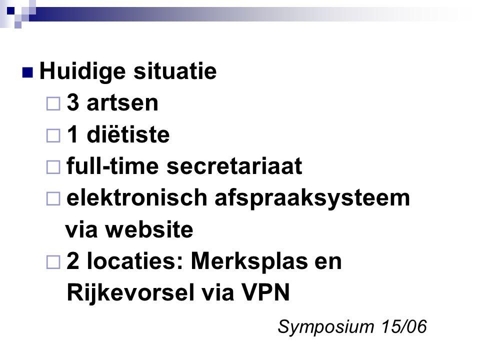 Huidige situatie  3 artsen  1 diëtiste  full-time secretariaat  elektronisch afspraaksysteem via website  2 locaties: Merksplas en Rijkevorsel via VPN Symposium 15/06