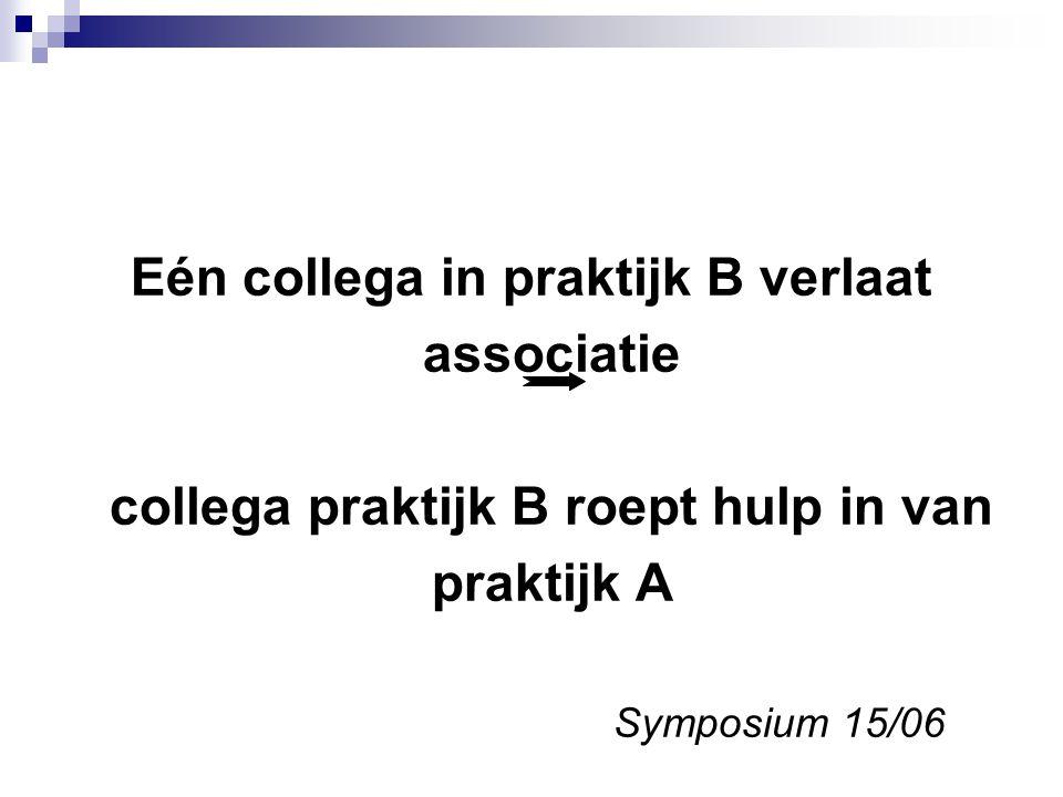 Eén collega in praktijk B verlaat associatie collega praktijk B roept hulp in van praktijk A Symposium 15/06