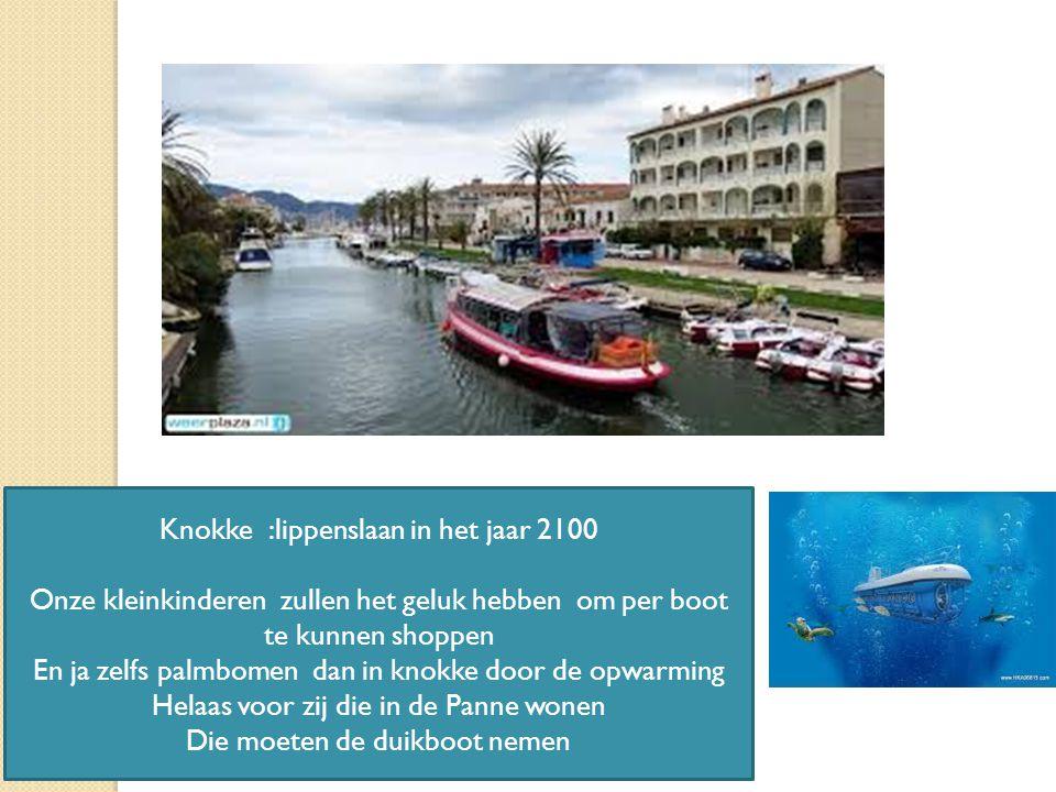 15/04/2015 12 Knokke :lippenslaan in het jaar 2100 Onze kleinkinderen zullen het geluk hebben om per boot te kunnen shoppen En ja zelfs palmbomen dan in knokke door de opwarming Helaas voor zij die in de Panne wonen Die moeten de duikboot nemen