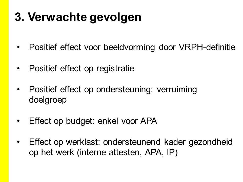 3. Verwachte gevolgen Positief effect voor beeldvorming door VRPH-definitie Positief effect op registratie Positief effect op ondersteuning: verruimin