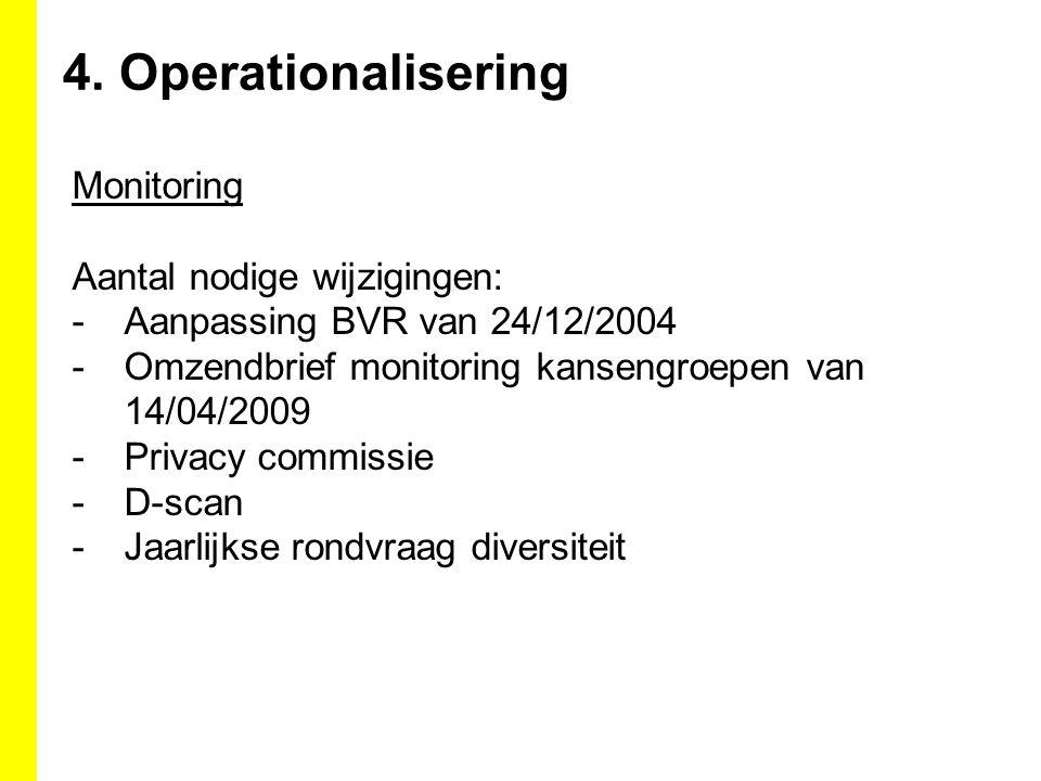 4. Operationalisering Monitoring Aantal nodige wijzigingen: -Aanpassing BVR van 24/12/2004 -Omzendbrief monitoring kansengroepen van 14/04/2009 -Priva
