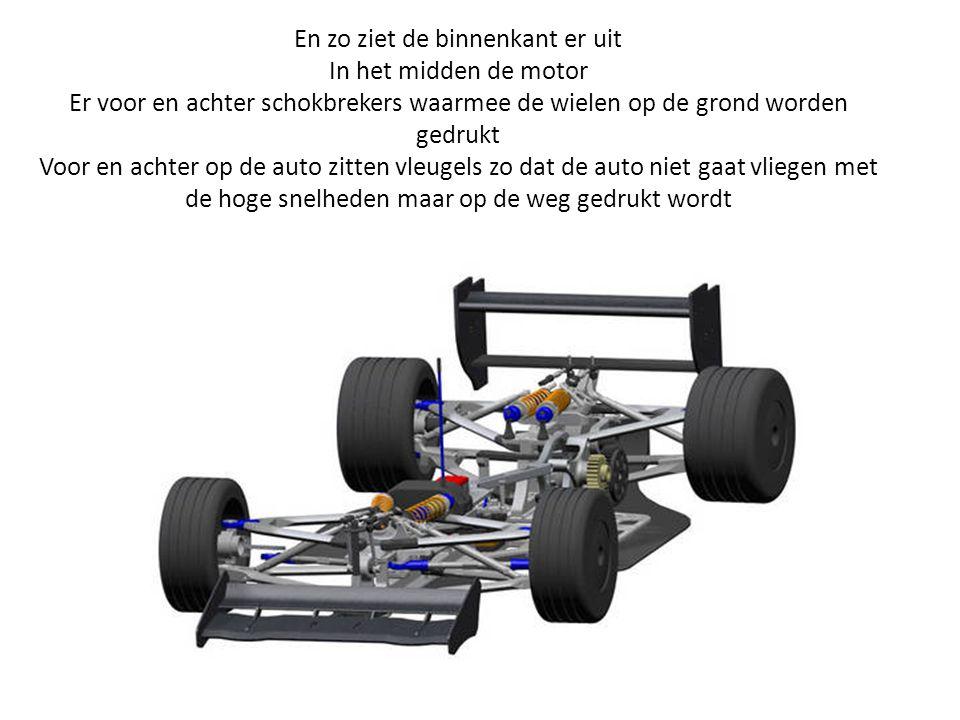 En zo ziet de binnenkant er uit In het midden de motor Er voor en achter schokbrekers waarmee de wielen op de grond worden gedrukt Voor en achter op d