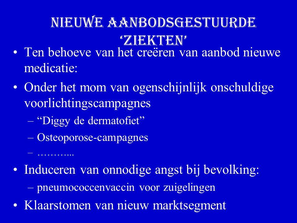 Nieuwe aanbodsgestuurde 'ziekten' Ten behoeve van het creëren van aanbod nieuwe medicatie: Onder het mom van ogenschijnlijk onschuldige voorlichtingscampagnes – Diggy de dermatofiet –Osteoporose-campagnes –………...