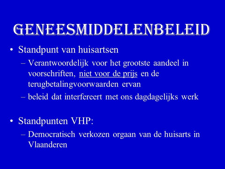 Geneesmiddelenbeleid Standpunt van huisartsen –Verantwoordelijk voor het grootste aandeel in voorschriften, niet voor de prijs en de terugbetalingvoorwaarden ervan –beleid dat interfereert met ons dagdagelijks werk Standpunten VHP: –Democratisch verkozen orgaan van de huisarts in Vlaanderen