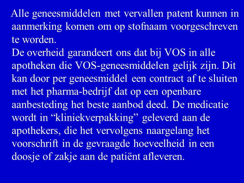 Alle geneesmiddelen met vervallen patent kunnen in aanmerking komen om op stofnaam voorgeschreven te worden.