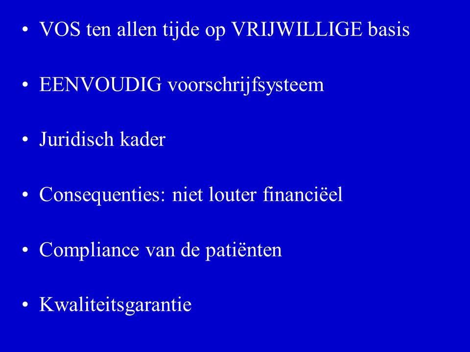 VOS ten allen tijde op VRIJWILLIGE basis EENVOUDIG voorschrijfsysteem Juridisch kader Consequenties: niet louter financiëel Compliance van de patiënten Kwaliteitsgarantie