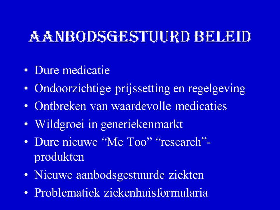 Aanbodsgestuurd beleid Dure medicatie Ondoorzichtige prijssetting en regelgeving Ontbreken van waardevolle medicaties Wildgroei in generiekenmarkt Dure nieuwe Me Too research - produkten Nieuwe aanbodsgestuurde ziekten Problematiek ziekenhuisformularia