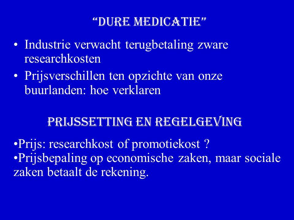 Prijssetting en regelgeving Industrie verwacht terugbetaling zware researchkosten Prijsverschillen ten opzichte van onze buurlanden: hoe verklaren Dure medicatie Prijs: researchkost of promotiekost .
