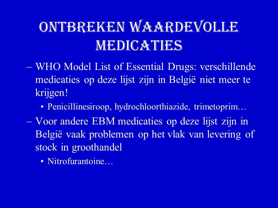 Ontbreken waardevolle medicaties –WHO Model List of Essential Drugs: verschillende medicaties op deze lijst zijn in België niet meer te krijgen.