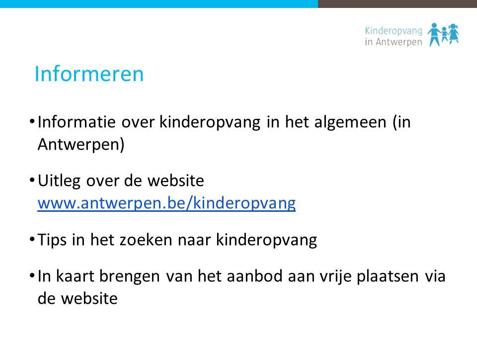 Informeren Informatie over kinderopvang in het algemeen (in Antwerpen) Uitleg over de website www.antwerpen.be/kinderopvang www.antwerpen.be/kinderopvang Tips in het zoeken naar kinderopvang In kaart brengen van het aanbod aan vrije plaatsen via de website