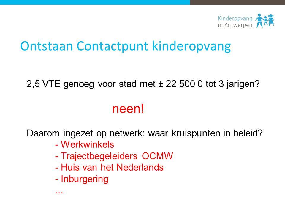 Ontstaan Contactpunt kinderopvang 2,5 VTE genoeg voor stad met ± 22 500 0 tot 3 jarigen.