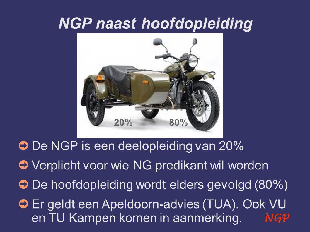 NGP NGP naast hoofdopleiding ➲ De NGP is een deelopleiding van 20% ➲ Verplicht voor wie NG predikant wil worden ➲ De hoofdopleiding wordt elders gevolgd (80%) ➲ Er geldt een Apeldoorn-advies (TUA).