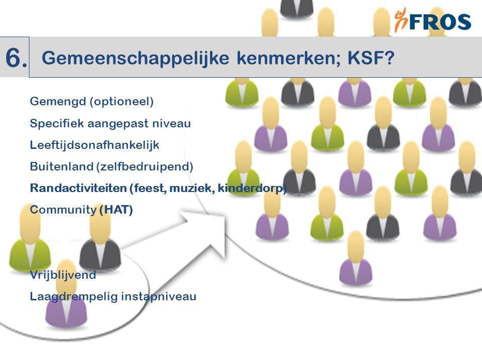 Gemengd (optioneel) Specifiek aangepast niveau Leeftijdsonafhankelijk Buitenland (zelfbedruipend) Randactiviteiten (feest, muziek, kinderdorp) Community (HAT) Vrijblijvend Laagdrempelig instapniveau 6.