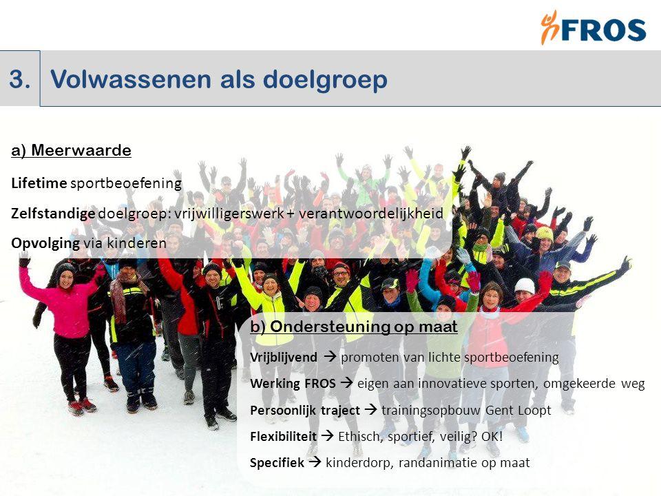 3. Volwassenen als doelgroep a) Meerwaarde b) Ondersteuning op maat Vrijblijvend  promoten van lichte sportbeoefening Werking FROS  eigen aan innova