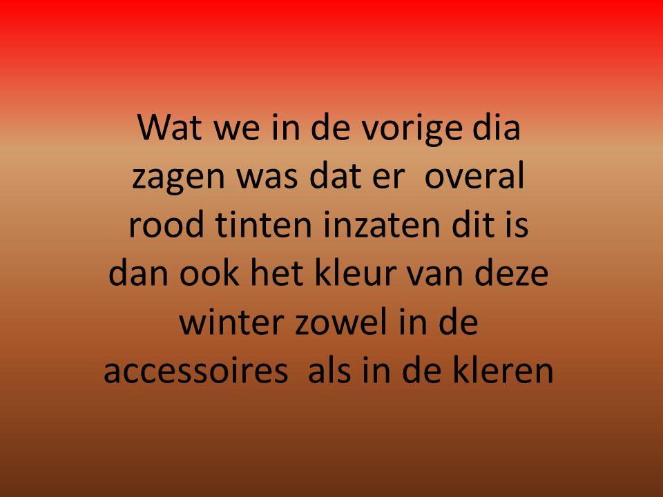 Wat we in de vorige dia zagen was dat er overal rood tinten inzaten dit is dan ook het kleur van deze winter zowel in de accessoires als in de kleren