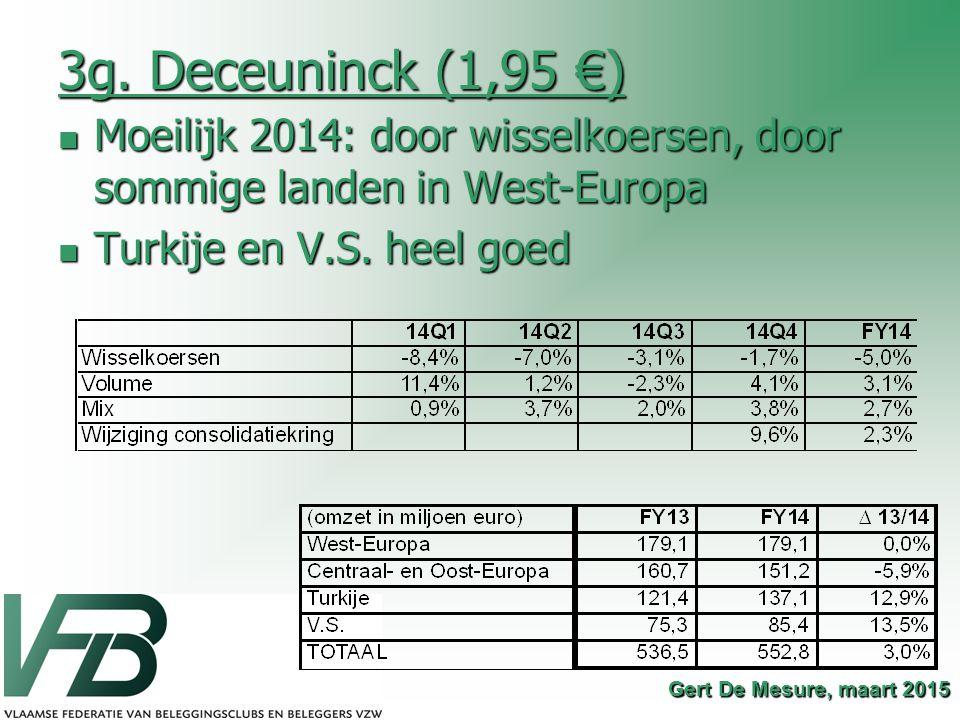 3g. Deceuninck (1,95 €) Moeilijk 2014: door wisselkoersen, door sommige landen in West-Europa Moeilijk 2014: door wisselkoersen, door sommige landen i