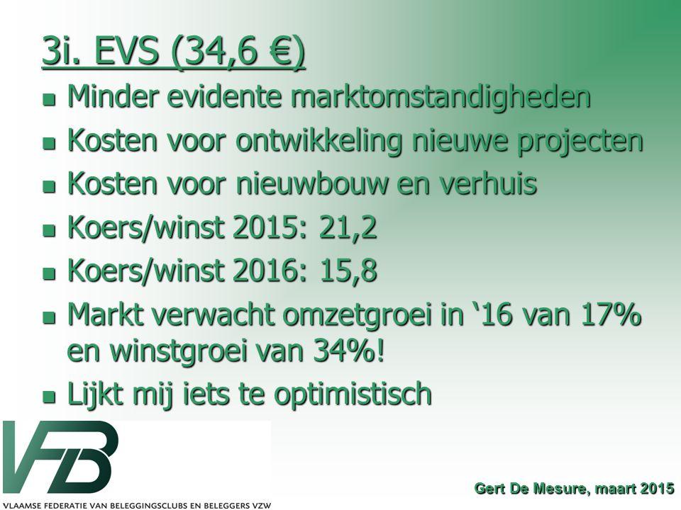 3i. EVS (34,6 €) Minder evidente marktomstandigheden Minder evidente marktomstandigheden Kosten voor ontwikkeling nieuwe projecten Kosten voor ontwikk
