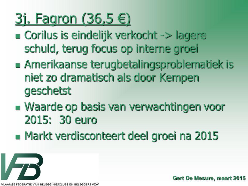 3j. Fagron (36,5 €) Corilus is eindelijk verkocht -> lagere schuld, terug focus op interne groei Corilus is eindelijk verkocht -> lagere schuld, terug