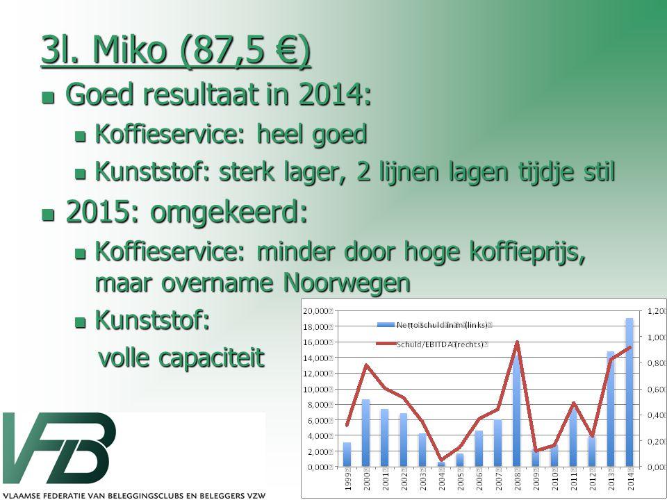 3l. Miko (87,5 €) Goed resultaat in 2014: Goed resultaat in 2014: Koffieservice: heel goed Koffieservice: heel goed Kunststof: sterk lager, 2 lijnen l