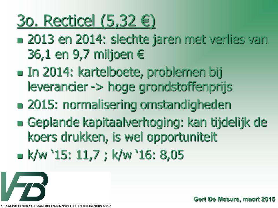 3o. Recticel (5,32 €) 2013 en 2014: slechte jaren met verlies van 36,1 en 9,7 miljoen € 2013 en 2014: slechte jaren met verlies van 36,1 en 9,7 miljoe
