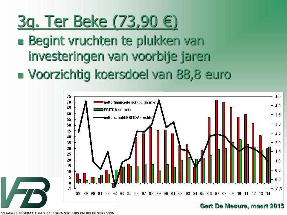 3q. Ter Beke (73,90 €) Begint vruchten te plukken van investeringen van voorbije jaren Begint vruchten te plukken van investeringen van voorbije jaren