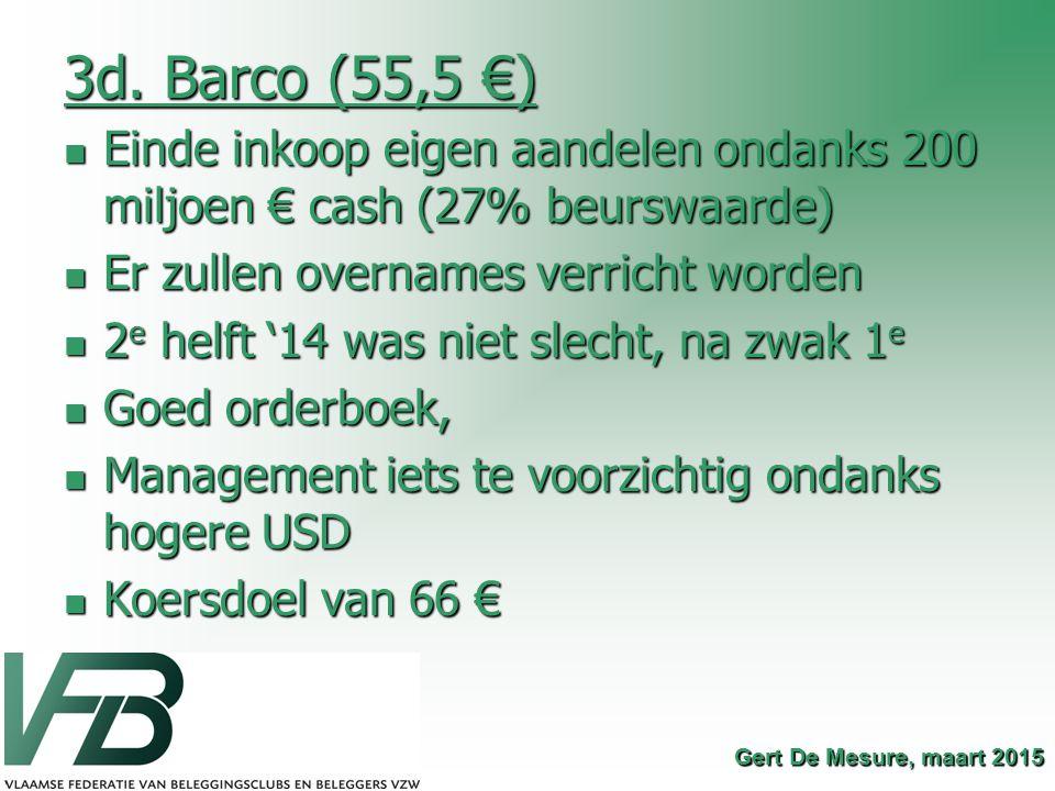 3d. Barco (55,5 €) Einde inkoop eigen aandelen ondanks 200 miljoen € cash (27% beurswaarde) Einde inkoop eigen aandelen ondanks 200 miljoen € cash (27