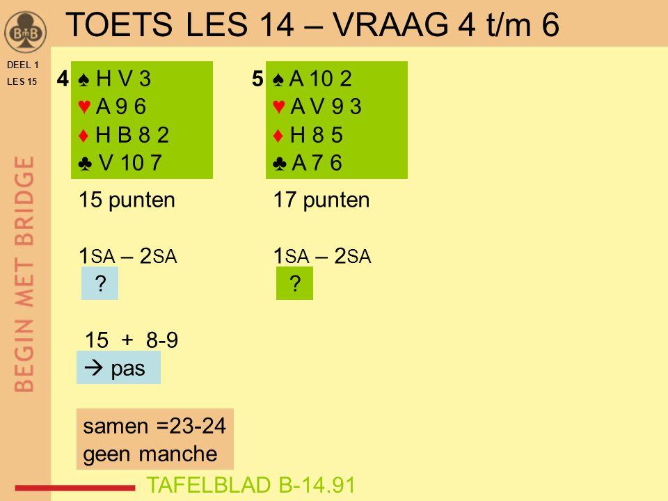 ♠ H V 3 ♥ A 9 6 ♦ H B 8 2 ♣ V 10 7 ♠ A 10 2 ♥ A V 9 3 ♦ H 8 5 ♣ A 7 6 15 punten 1 SA – 2 SA 15 + 8-9  pas 45 17 punten 1 SA – 2 SA .