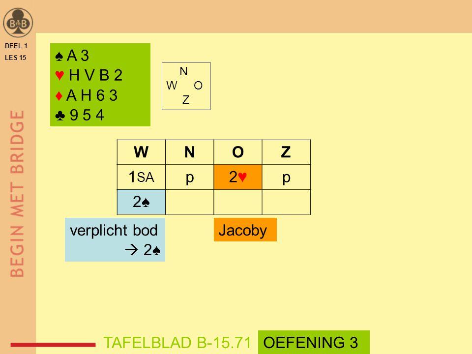 N W O Z WNOZ 1 SA p2♥2♥p 2♠2♠ TAFELBLAD B-15.71OEFENING 3 Jacobyverplicht bod  2♠ DEEL 1 LES 15 ♠ A 3 ♥ H V B 2 ♦ A H 6 3 ♣ 9 5 4