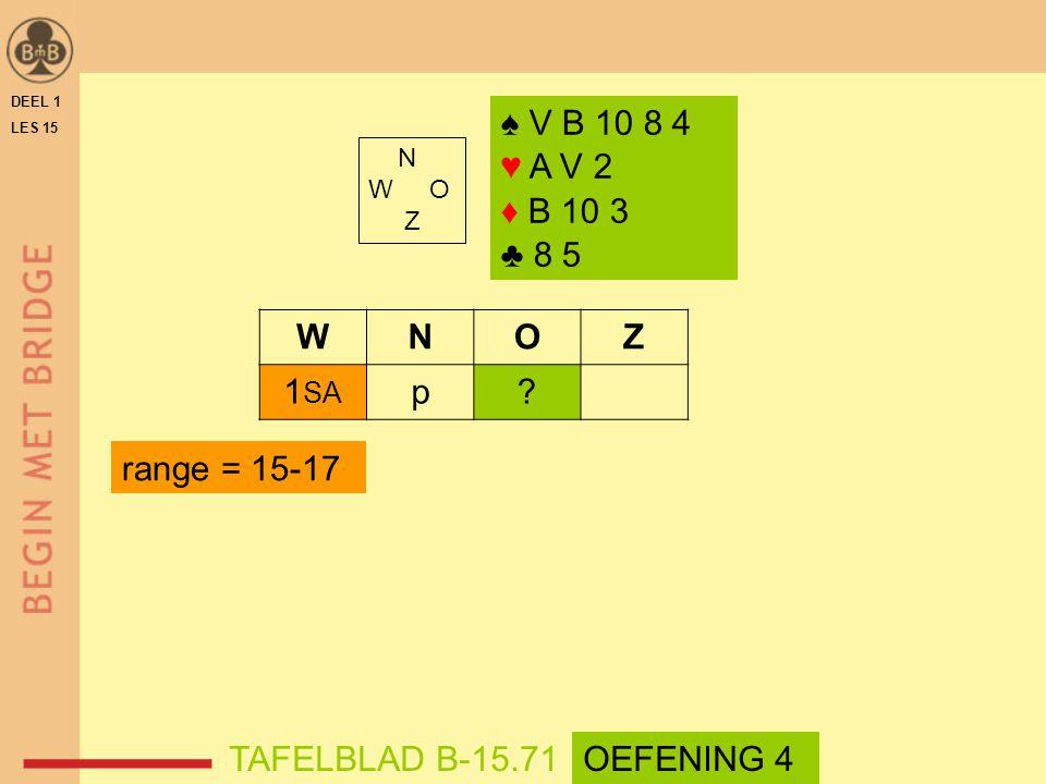 ♠ V B 10 8 4 ♥ A V 2 ♦ B 10 3 ♣ 8 5 N W O Z WNOZ 1 SA p.