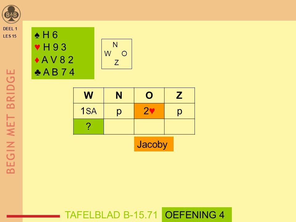 ♠ H 6 ♥ H 9 3 ♦ A V 8 2 ♣ A B 7 4 N W O Z WNOZ 1 SA p2♥2♥p .