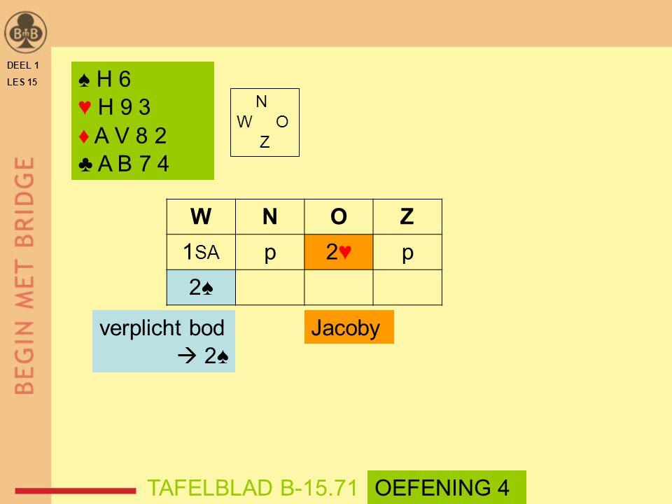 ♠ H 6 ♥ H 9 3 ♦ A V 8 2 ♣ A B 7 4 N W O Z WNOZ 1 SA p2♥2♥p 2♠2♠ TAFELBLAD B-15.71OEFENING 4 Jacobyverplicht bod  2♠ DEEL 1 LES 15