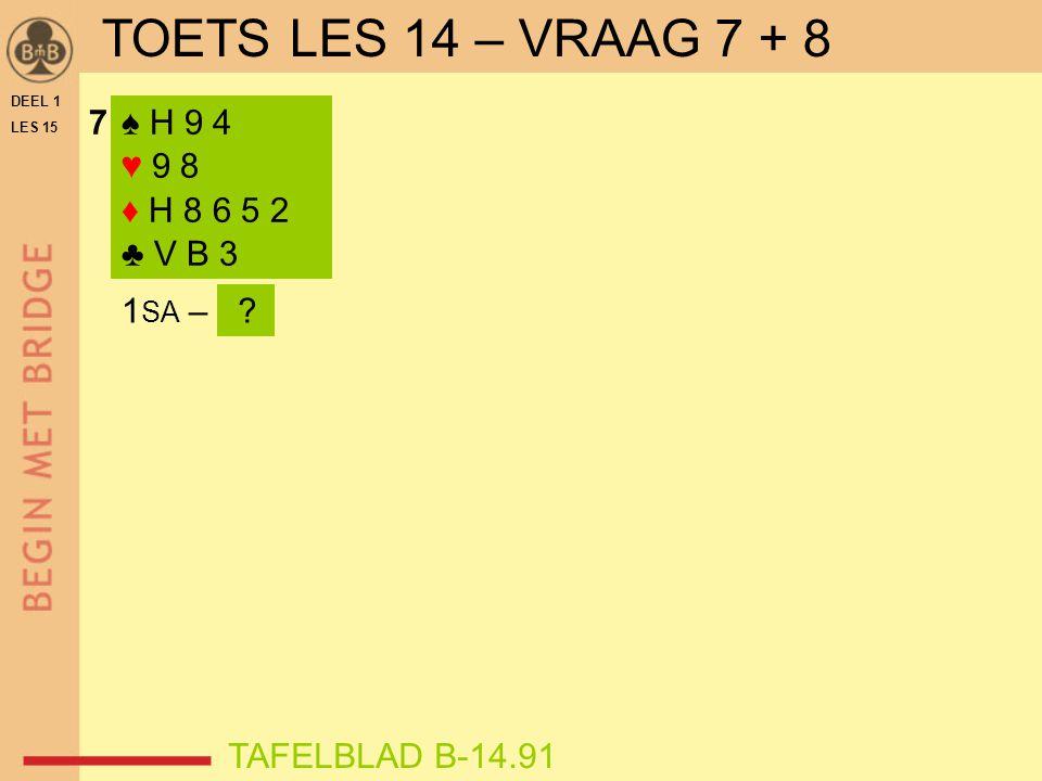 7♠ H 9 4 ♥ 9 8 ♦ H 8 6 5 2 ♣ V B 3 1 SA – .