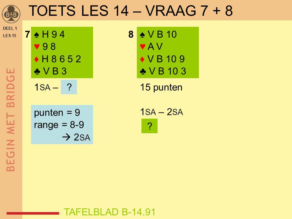 78♠ H 9 4 ♥ 9 8 ♦ H 8 6 5 2 ♣ V B 3 1 SA – 15 punten 1 SA – 2 SA .