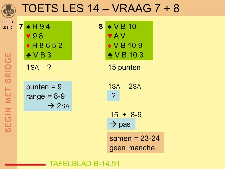 78♠ V B 10 ♥ A V ♦ V B 10 9 ♣ V B 10 3 ♠ H 9 4 ♥ 9 8 ♦ H 8 6 5 2 ♣ V B 3 1 SA – 15 punten 1 SA – 2 SA .
