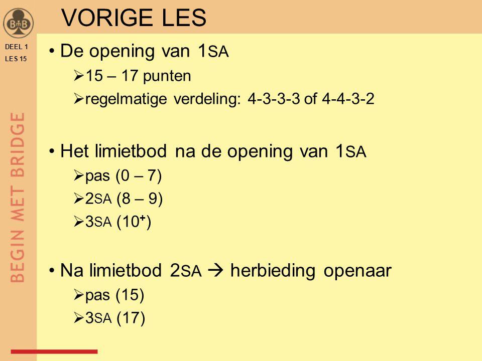 ♠ H 6 3 ♥ H 9 ♦ A V 8 2 ♣ V B 7 4 N W O Z WNOZ ? TAFELBLAD B-15.71OEFENING 2 DEEL 1 LES 15