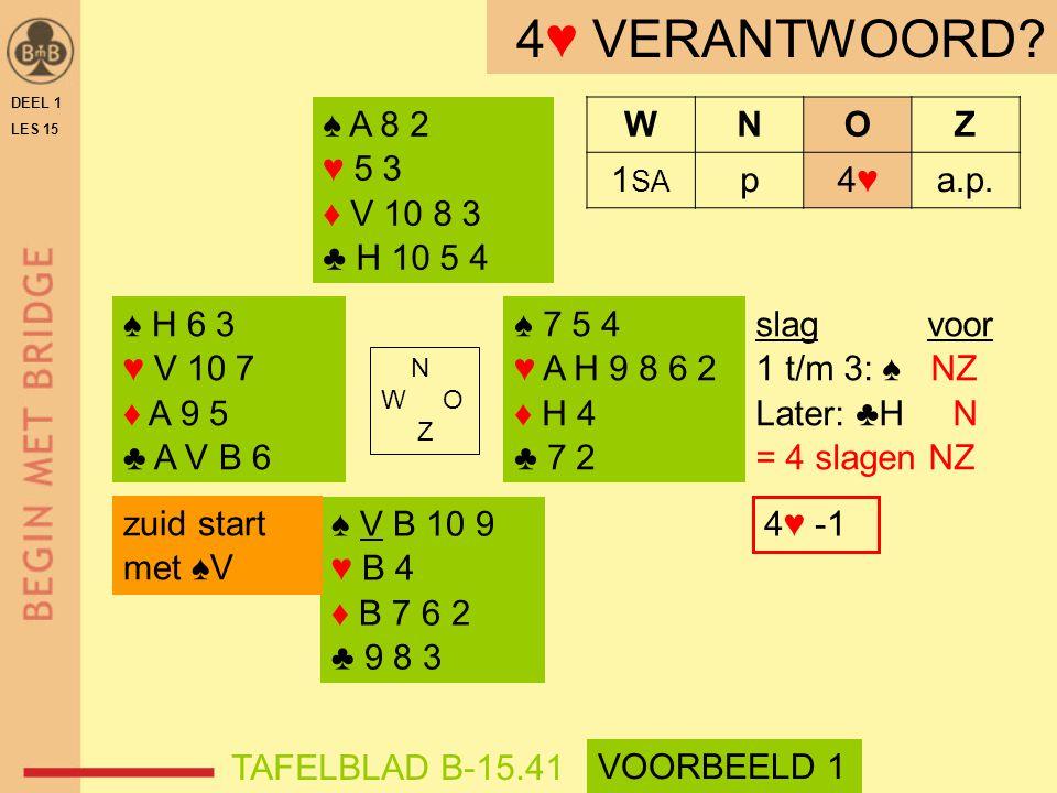 ♠ V B 10 9 ♥ B 4 ♦ B 7 6 2 ♣ 9 8 3 ♠ A 8 2 ♥ 5 3 ♦ V 10 8 3 ♣ H 10 5 4 N W O Z WNOZ 1 SA p4♥4♥a.p.