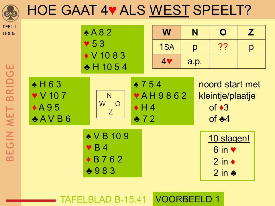 ♠ V B 10 9 ♥ B 4 ♦ B 7 6 2 ♣ 9 8 3 ♠ A 8 2 ♥ 5 3 ♦ V 10 8 3 ♣ H 10 5 4 N W O Z WNOZ 1 SA p p 4♥4♥a.p.