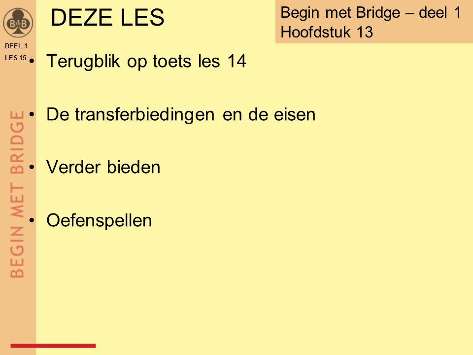 ♠ V B 10 8 4 ♥ A V 2 ♦ B 10 3 ♣ 8 5 N W O Z WNOZ 1 SA p2♥2♥p 2♠2♠p3 SA 8-9  2 SA 10 +  3 SA punten = 10 samen = 25-27 5-kaart ♠ (& 2 + ♠ bij west)  3 SA TAFELBLAD B-15.71OEFENING 4 2♠ verplicht DEEL 1 LES 15