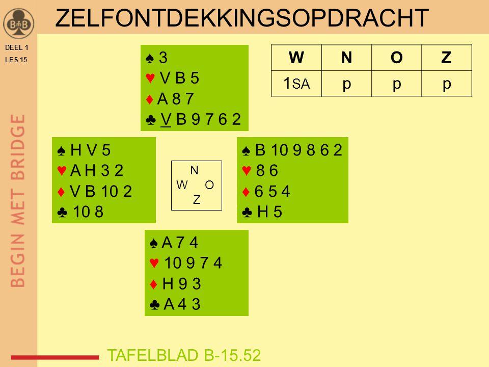 ZELFONTDEKKINGSOPDRACHT ♠ H V 5 ♥ A H 3 2 ♦ V B 10 2 ♣ 10 8 ♠ B 10 9 8 6 2 ♥ 8 6 ♦ 6 5 4 ♣ H 5 N W O Z WNOZ 1 SA ppp ♠ A 7 4 ♥ 10 9 7 4 ♦ H 9 3 ♣ A 4 3 ♠ 3 ♥ V B 5 ♦ A 8 7 ♣ V B 9 7 6 2 TAFELBLAD B-15.52 DEEL 1 LES 15
