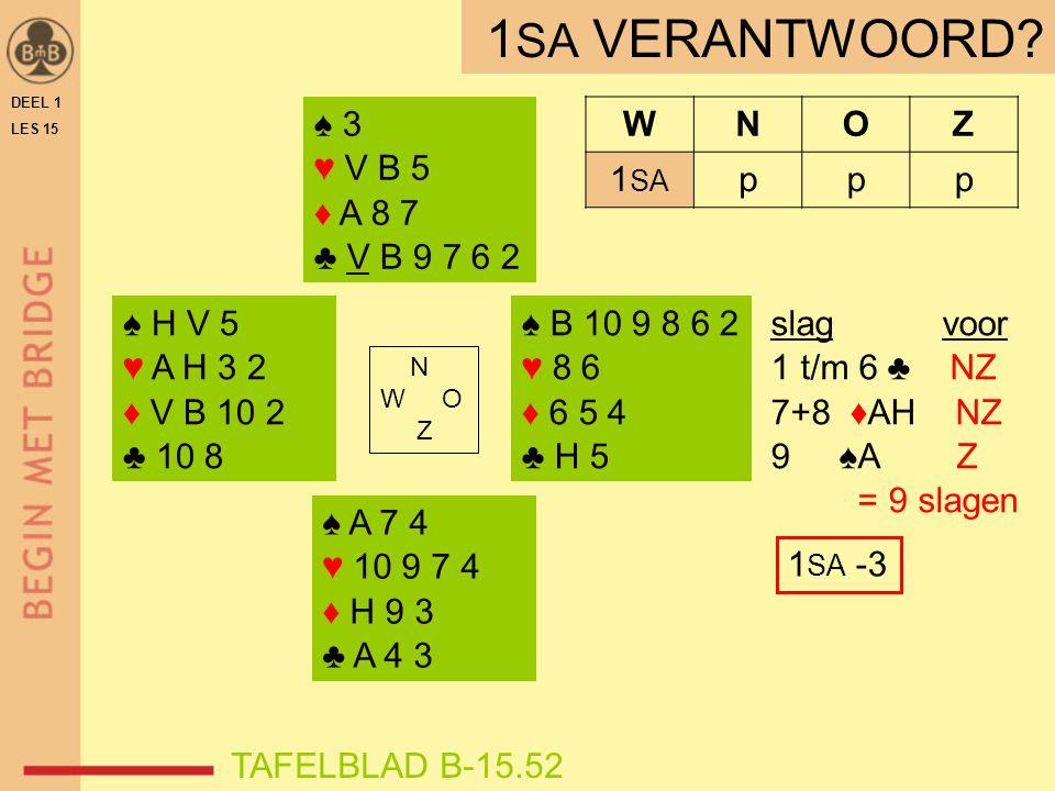 ♠ H V 5 ♥ A H 3 2 ♦ V B 10 2 ♣ 10 8 ♠ B 10 9 8 6 2 ♥ 8 6 ♦ 6 5 4 ♣ H 5 N W O Z WNOZ 1 SA ppp ♠ A 7 4 ♥ 10 9 7 4 ♦ H 9 3 ♣ A 4 3 ♠ 3 ♥ V B 5 ♦ A 8 7 ♣ V B 9 7 6 2 TAFELBLAD B-15.52 1 SA VERANTWOORD.