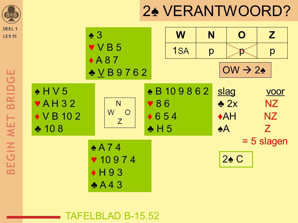 ♠ H V 5 ♥ A H 3 2 ♦ V B 10 2 ♣ 10 8 ♠ B 10 9 8 6 2 ♥ 8 6 ♦ 6 5 4 ♣ H 5 N W O Z WNOZ 1 SA ppp ♠ A 7 4 ♥ 10 9 7 4 ♦ H 9 3 ♣ A 4 3 ♠ 3 ♥ V B 5 ♦ A 8 7 ♣ V B 9 7 6 2 TAFELBLAD B-15.52 slag voor ♣ 2x NZ ♦AH NZ ♠A Z = 5 slagen 2♠ VERANTWOORD.