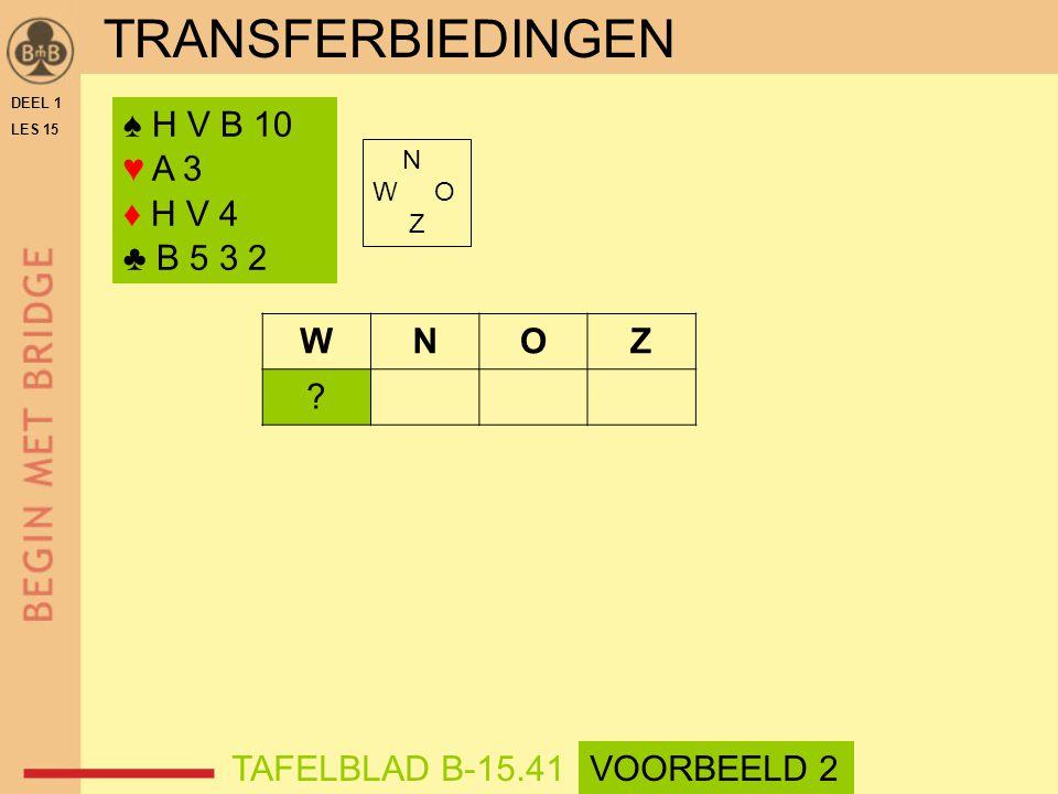 TRANSFERBIEDINGEN ♠ H V B 10 ♥ A 3 ♦ H V 4 ♣ B 5 3 2 N W O Z WNOZ .